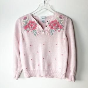 Vintage Sarit Knitted Floral Embroidered Sweater
